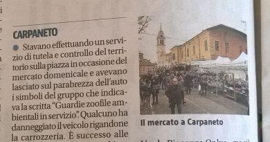 Il vile atto vandalico commesso contro l'auto delle Guardie di Piacenza