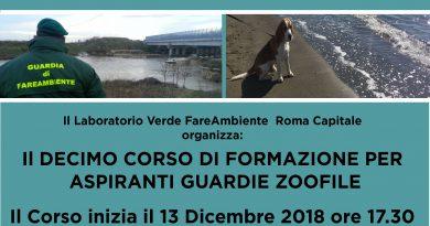 Roma, al via il decimo corso per aspiranti Guardie Zoofile